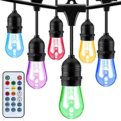 RGB LED Outdoor String Lights - Color Changing String Lights Adjustable, 48FT - LED String Lights Outdoor Dimmable Bulbs - Heavy Duty Waterproof Commercial Grade, Patio, Porch, Garden, Café, Party