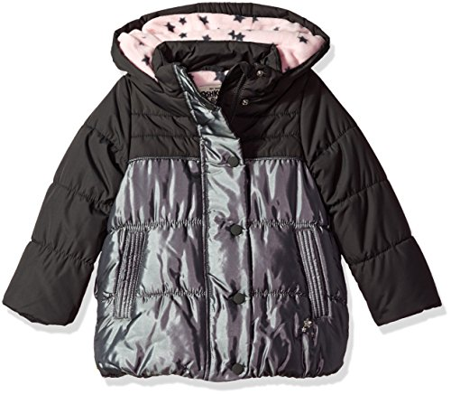 Osh Kosh Baby Toddler Girls' Heavyweight Jacket with Removeable Hood, New Carbon/Silver, 2T