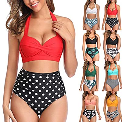 Swimsuits for Women Tummy Control,Vintage Floral Print Swimsuit 2 Piece Retro Ruched High Waist Bikini Bathing Suits: Clothing