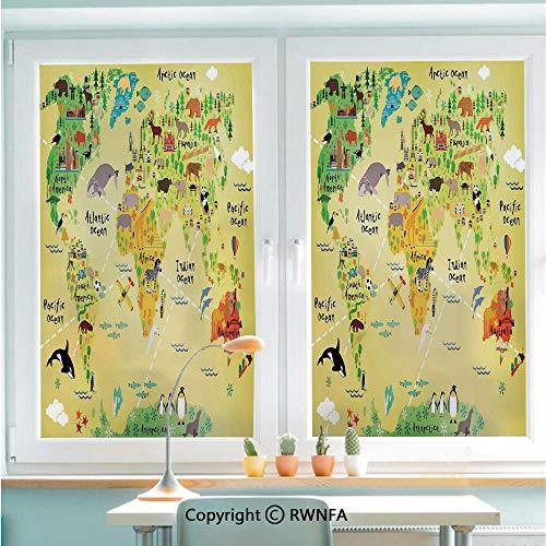 Window Door Sticker Glass Film,Educational World Map Africa America Penguins Atlantic Pacific Ocean Animals Australia Panda Decorative Anti UV Heat Control Privacy Kitchen Curtains for Glass,22.8 x 3