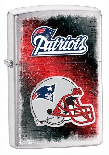 Team Logo Zippo Lighter (Zippo NFL Patriots Lighter, Silver, 5 1/2 x 3 1/2cm)