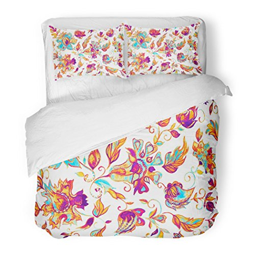 SanChic Duvet Cover Set Watercolor Hand Paisley Whimsical Flowers Leaves Brunches Oriental Arabic Indian Moroccan Spain Turkish Decorative Bedding Set with 2 Pillow Shams Full/Queen Size by SanChic