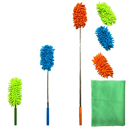 Malka Extendable Microfibre Duster Dusting Brush Set With Free 3 Duster...