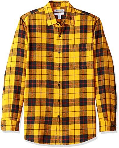 Amazon Essentials Mens Slim-Fit Long-Sleeve Plaid Flannel Shirt, Yellow, Medium