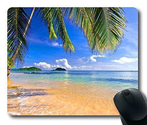 Gaming-Mouse-Pad-Shore-Palms-Tropical-Beach-Oblong-Shaped-Mouse-Mat-Design-Natural-Eco-Rubber-Durable-Computer-Desk-Stationery-Accessories-Mouse-Pads-For-Gift-Support-Wired-Wireless-or-Bluetooth-Mouse