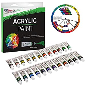 U.S. Art Supply Professional 24 Color Set of Acrylic Paint in 12ml Tubes - Rich Vivid Colors for Artists, Students, Beginners - Canvas Portrait Paintings - Bonus Color Mixing Wheel