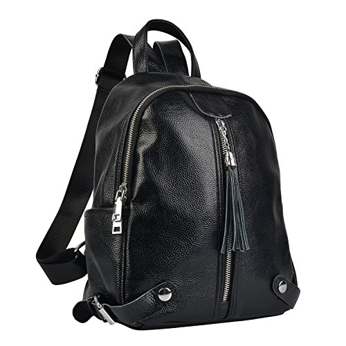 Belle & Lily Black Genuine Pebbled Leather Backpack Purse Casual Daypack for Girls Ladies Women Schoolbag Travelling Shopping Back to School Christmas for Women Girl(BL05) ()