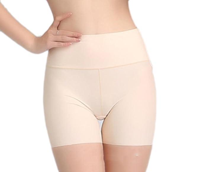 e50b38067 Vska Women Abdomen Seamless Ice Silk Push-up Boxer Briefs Boyshort Panties  Apricot M