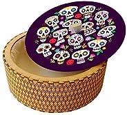 Hermoso tortillero térmico hecho en madera con diseño mexicano - Marca ZAXIC, Modelo Calaveras Dia de Muertos,