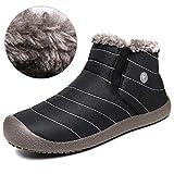 Quickshark Men Snow Boots Winter Outdoor Shoes Warm Casual Anti-Slip Sneakers Fur Lining(US Women 11.5 B(M)/US Men 10 D(M)=EU 43,Black)