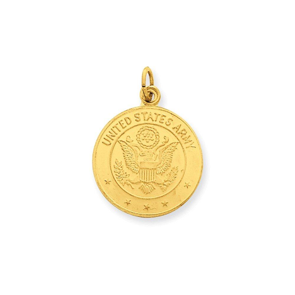 Mia Diamonds 14k Yellow Gold U.S Army Insignia Disc Pendant
