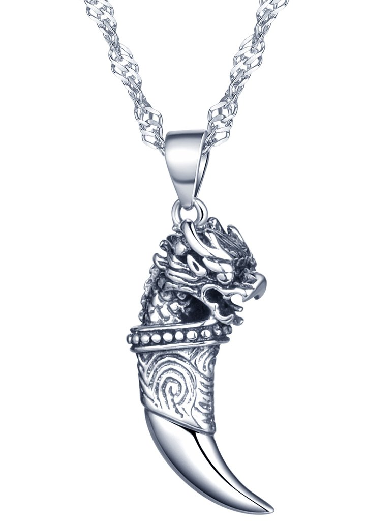 Yumilok Jewelry 925 Sterling Silver Cool Tiger's Head Wolf's Tooth Pendant Necklace for Women/Girls