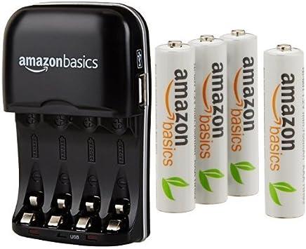 AmazonBasics - Cargador de pilas AA y AAA y pack de 4 pilas recargables AAA (1000 ciclos, 800 mAh): Amazon.es: Electrónica