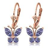 ALARRI 1.24 Carat 14K Solid Rose Gold Butterfly Earrings Natural Tanzanite