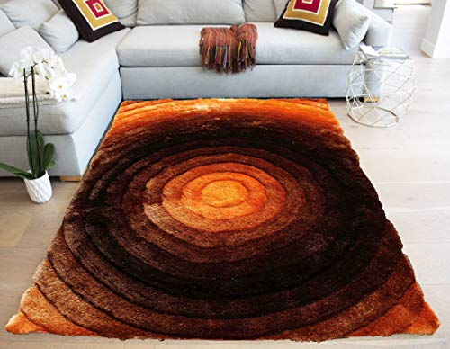 LA Continues Circular Designer 3D Shag Shaggy Woven Braided Hand Knotted Feizy Accent Fluffy Fuzzy Modern Contemporary 8-Feet-by-10-Feet Polyester Made Area Rug Carpet Rug Orange Rust Brown Color (Rust Brown And Rugs)