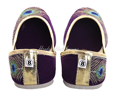 Purple And Khussa Womens Mojari Luxury Handcrafted Bridal Velvet Jutti Golden Shoe Jooti pSxFHzqw