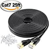 Ethernet Cable Cat 7 Shielded (STP) Lan Network Cable – Cat7 10GB Fastest Internet computer Patch Cable short – With Snagless Rj45 Connectors – 25 Feet Black (7.62 meters)