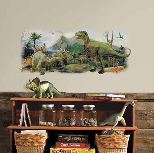 - RoomMates Dinosaurs Giant Scene Peel And Stick Wall Graphic