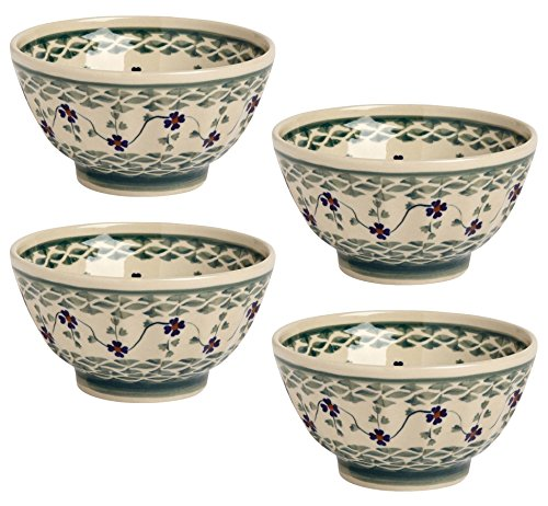 Polish Pottery Basketweave Handmade Fluted Cereal / Soup Bowl, Blue Green Floral, 5.5-Inch (Set of 4)
