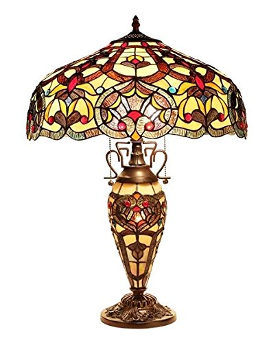 Stained Glass Sadie Tiffany Style Light Table Lamp W/Lit Base Arrowhead Glass Table Lamp