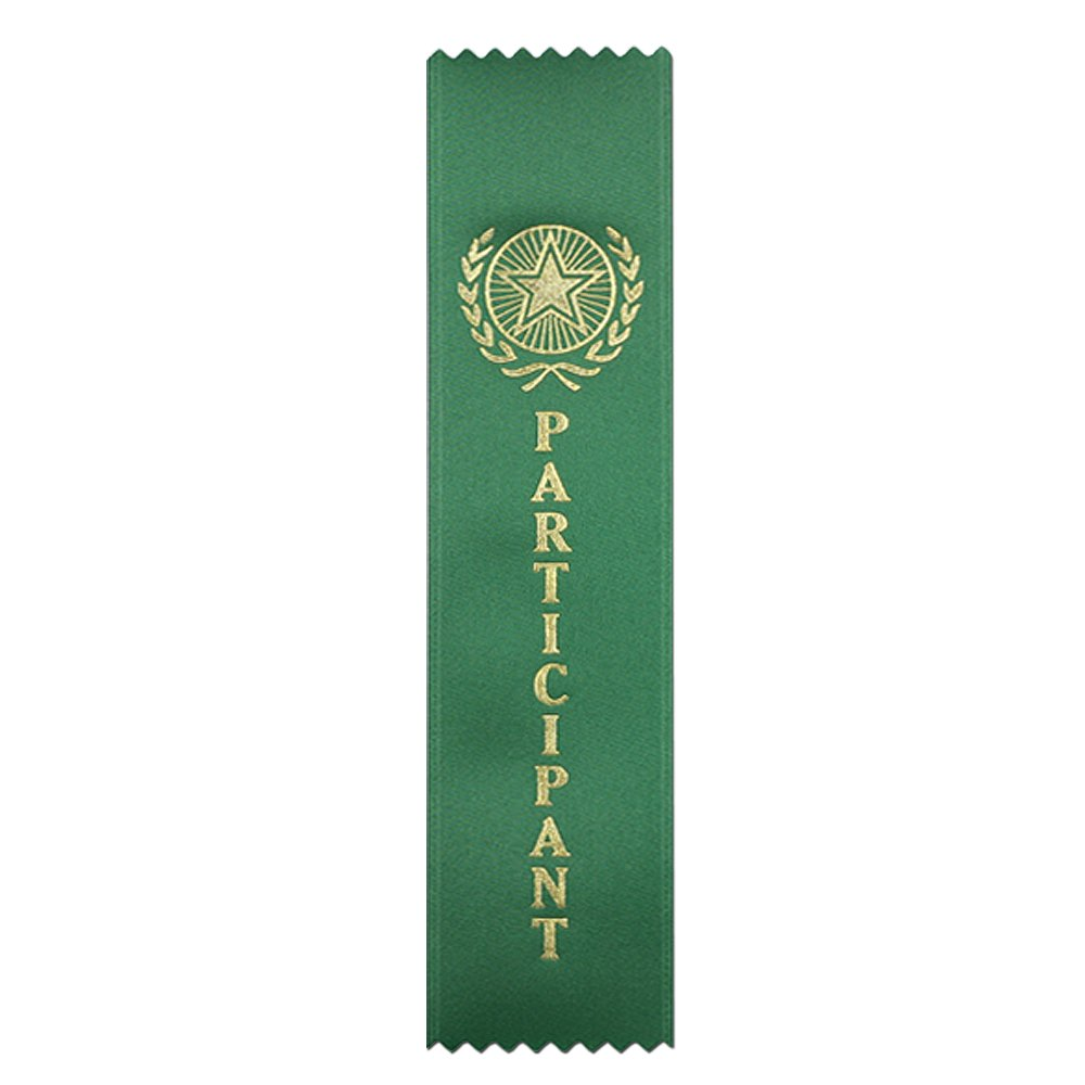 Participant Quality Award Ribbons - 50 Count Metallic Gold foil Print – Made in The USA (Green)