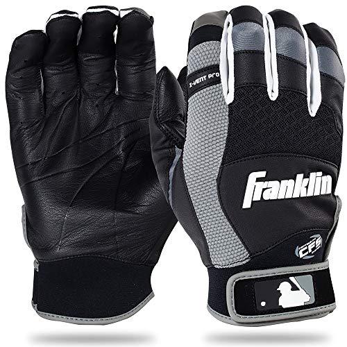 Franklin Sports Adult MLB X-Vent Pro Batting Gloves, Adult Small, Pair, Black/Gray ()