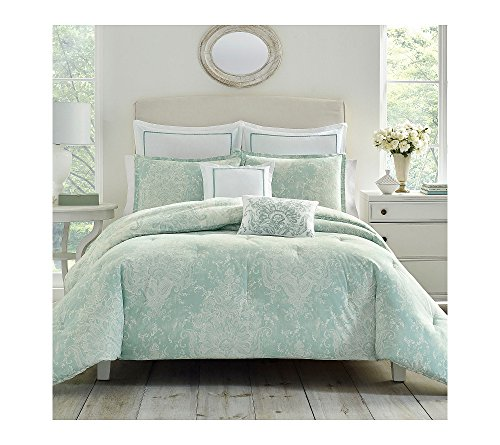 Laura Ashley USHS8K1046715 Maddox 7 Piece Comforter Set, Full/Queen, Lt-Pastel Blue