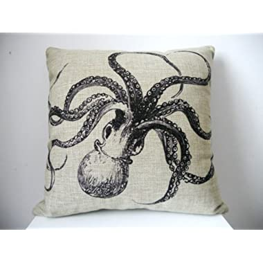 Generic Decorative Cotton Linen Square Throw Pillow Case Cushion Cover Shell Pillowcase for Sofa Octopus, 18 x 18