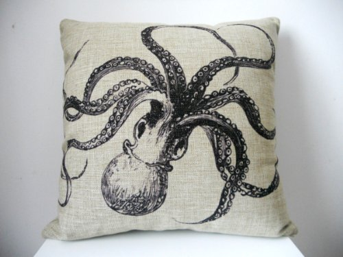 "Generic Decorative Cotton Linen Square Throw Pillow Case Cushion Cover Shell Pillowcase for Sofa Octopus, 18""x 18"""