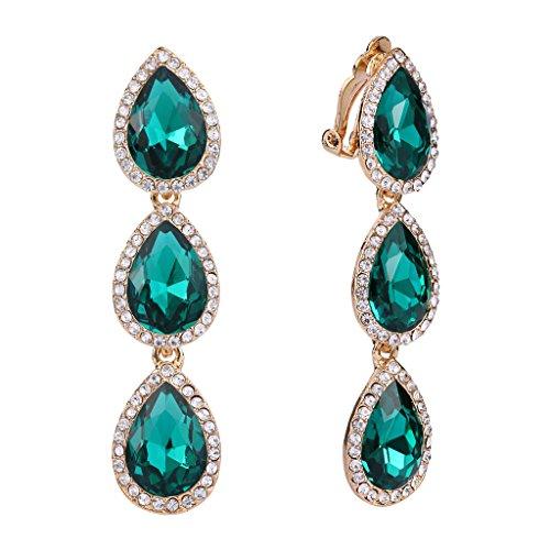EleQueen Women's Gold-tone Austrian Crystal Teardrop Pear Shape 2.4 Inch Long Clip-on Dangle Earrings Emerald Color ()