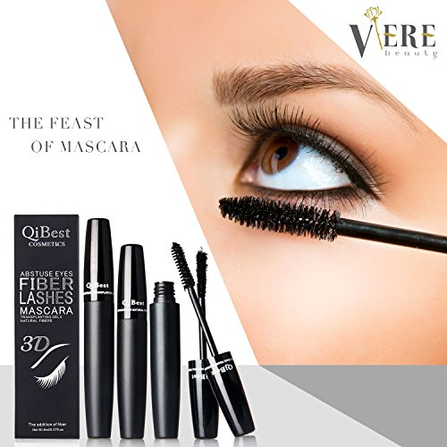 3D Mascara Fiber Lashes, Premium Fiber Mascara Best for Thickening & Lengthening, Long Lasting, Non-Toxic Hypoallergenic Ingredients, Waterproof (Black) (Best Lash Lengthening Mascara)