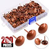 Hilitchi 200-Pieces 9/16'' (14mm) Antique Upholstery Nails Tacks Furniture Tacks Upholstery Tacks Thumb Tack Push Pins Assortment Kit (Red Copper)