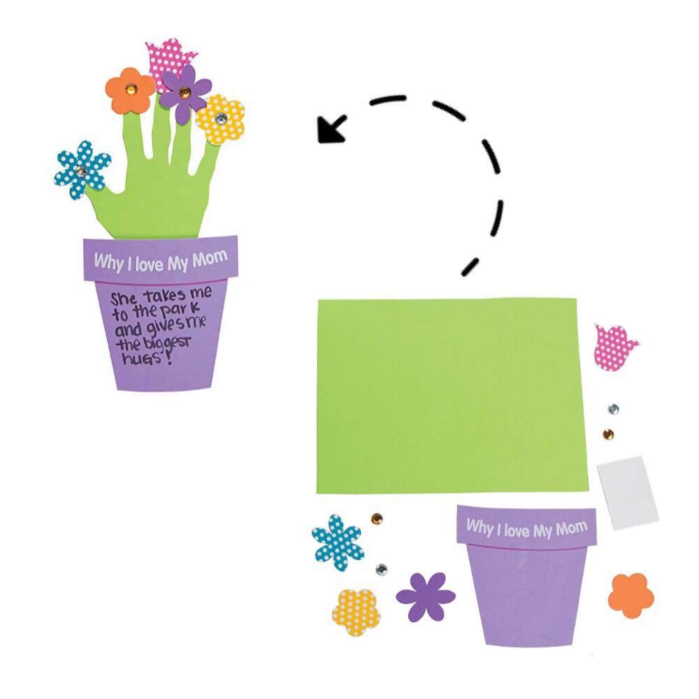 Color on Gift Bag and Card Happy Mothers Day 2019 Frame Handprint Flower Craft Mothers Day Craft Kit for Kids