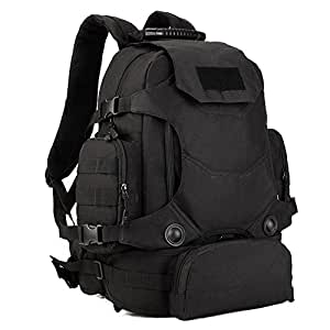 Huntvp Tactical Military MOLLE Assault Backpack Pack 3 Way 40L Large Waterproof Bag Rucksack with PatchSport Outdoor Gear For Hunting Camping Trekking (Black)