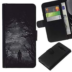 """A-type (Aves Scarry Bosque Oscuro"""") Colorida Impresión Funda Cuero Monedero Caja Bolsa Cubierta Caja Piel Card Slots Para Samsung Galaxy Core Prime"""