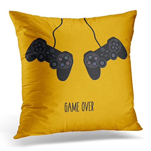 UPOOS Throw Pillow Cover Flat Gaming Creative Two Black Remote Joystick with Buttons Forms for Geek Gamers on Yellow Orange Text Decorative Pillow Case Home Decor Square 16x16 Inches Pillowcase (Digital Player Case Creative)