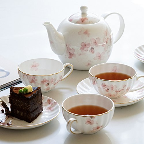 - SFSYDDY-The Blue Lotus Cherry Blossom Bone China Coffee Set And Afternoon Tea Red Tea With 4 Cup Of Tea Kettle 4 Disc 1 (Gift Box)