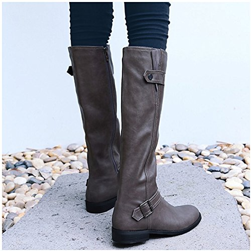 1439 Riding Gray Boots Long Classic Women Taoffen Winter Zipper fqgRZA0w