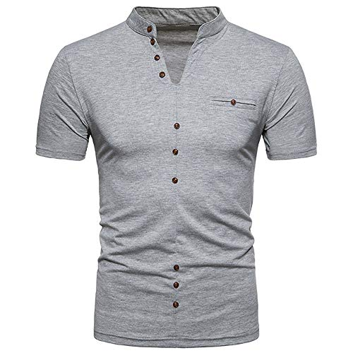 Amlaiworld Gris Courtes Manches Repassage Casual shirt Unie Hommes Sans Business Couleur Chemise T À wZqxpCwA