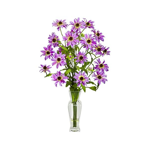 Artificial Flowers -Purple Cosmos with Vase Flower Arrangement Silk Flowers