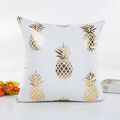 Kingla Home Decorative Square Throw Pillow Covers Bronzing Home Pillowcase 18 Inches Pineapple Geometry Stripes Dots Love Square Cushion Covers For Sofa (AD011)