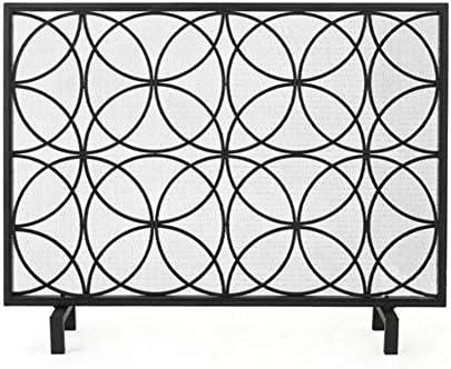 暖炉スクリーン 大きな暖炉スクリーンリビングルームのインテリア、錬鉄暖炉カバー付きネット、屋内、屋外ストーブカーテン暖炉アクセサリ (Color : Black)