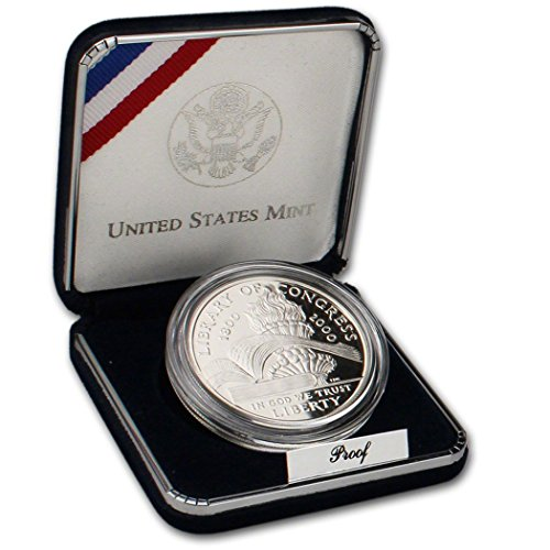 2000 P Commemorative Library of Congress 90% Proof Silver Dollar in OGP