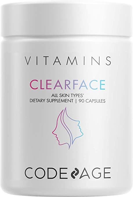 Clearface Pantothenic Acid, NiacinSupplement, Vitamins A, C, D3, E, Probiotics, Zinc, Riboflavin, Thiamin, L-Lysine HCL & Omega-3, Niacinamide, Skin Botanical Blend - Non-GMO - 90 Capsules