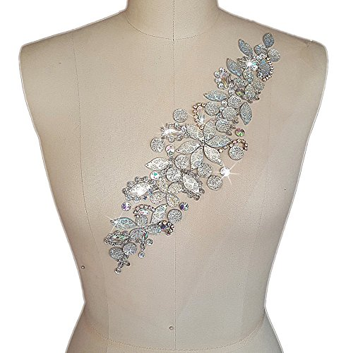 FASHION! Pure Handmade Bright Crystal Patches Sew-on AB Color Rhinestones Applique with Stones Sequins Beads DIY for Wedding Dress Decor Accessory 3.9x14.2″ Belt Waist (Stone Sequins)