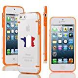 Apple iPhone 6 6s Thin Hybrid Transparent Clear Hard TPU Bumper Case Cover France French Flag (Orange)