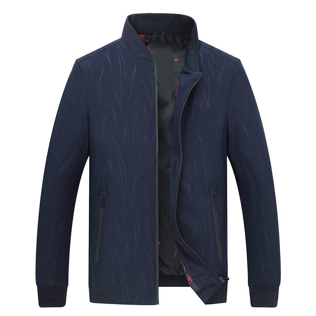 IEasⓄn Men Jacket Man Autumn Winter Thin Style Casual Windproof Individual Jacket Tops Blue