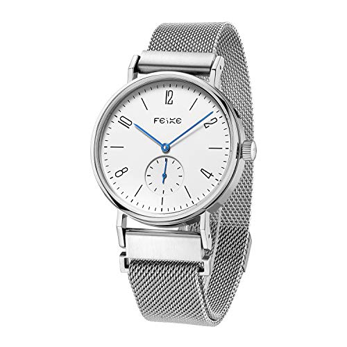 FEICE Men's Mechanical Watch Automatic Watch Analog Wrist Watches Stainless Steel Leather Band Watches Casual Business Watch for Men Best Gift #FM201 (Silver)