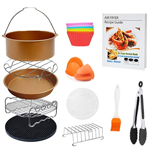 (8 inch XL Air Fryer Accessories 11 pcs with Recipe Cookbook Compatible for Gowise USA Cozyna Airfryer XL 5.3QT - 5.8QT, Deluxe Deep Fryer Accessories Set of 12 - Champagne Gold)