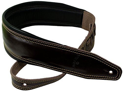 Ultimate Brown Double Stitched Wide Padded Leather Guitar & Bass Strap by Cavalry Straps - Double Neck Bass Guitars